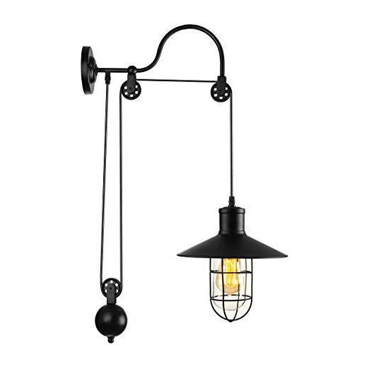 Baycheer Industrial Retro Farmhouse Style Lifting Pulley Retractable Adjustable Glass Birdcage Wall Lamp Light Wall Sconce Use E26 Light Bulb Socket For Most Recent Kenedy 9 Light Candle Style Chandeliers (View 17 of 30)