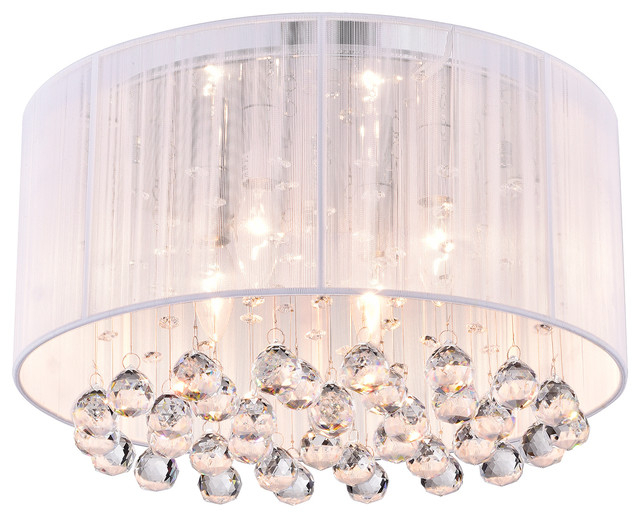 Belle 4 Light White Thread And Chrome Flush Mount With Hanging Crystals Glam Within Most Current Donna 4 Light Globe Chandeliers (View 26 of 30)