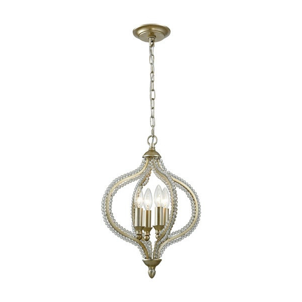 Bennington 4 Light Candle Style Chandeliers Within Newest Bennington 4 Light Pendant, Aged Silver (View 12 of 30)