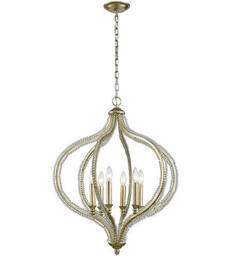 Bennington 6 Light Candle Style Chandeliers For Best And Newest Bennington 6 Light 24 Inch Aged Silver Pendant Ceiling Light (Gallery 16 of 30)