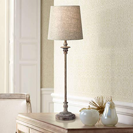Bentley Traditional Buffet Table Lamp Weathered Brown Linen Fabric Drum  Shade For Dining Room – Regency Hill Regarding Most Popular Malcom Buffet Table (Gallery 11 of 20)