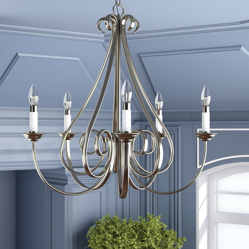 Berger 5 Light Candle Style Chandeliers Intended For Well Known Cayman 5 Light Candle Style Chandelier (View 5 of 30)