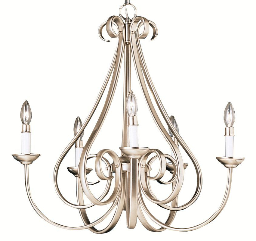 "Berger 5 Light Candle Style Chandeliers Throughout Well Known Kichler 2021 Dover 5 Light 26"" Wide Single Tier Candle Style (View 23 of 30)"