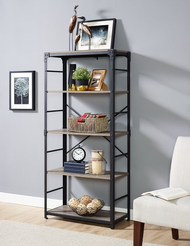 "Best And Newest 64"" Angle Iron Urban Industrial Bookshelf – Driftwood Within Aptos Etagere Bookcases (Gallery 5 of 20)"