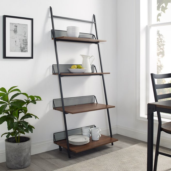 Best And Newest Bennington Industrial Metal And Wood Ladder Bookcase Inside Averett Ladder Bookcases (Gallery 12 of 20)