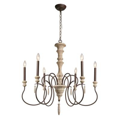 Best And Newest Cottage – Chandeliers – Lighting – The Home Depot Pertaining To Perseus 6 Light Candle Style Chandeliers (View 26 of 30)