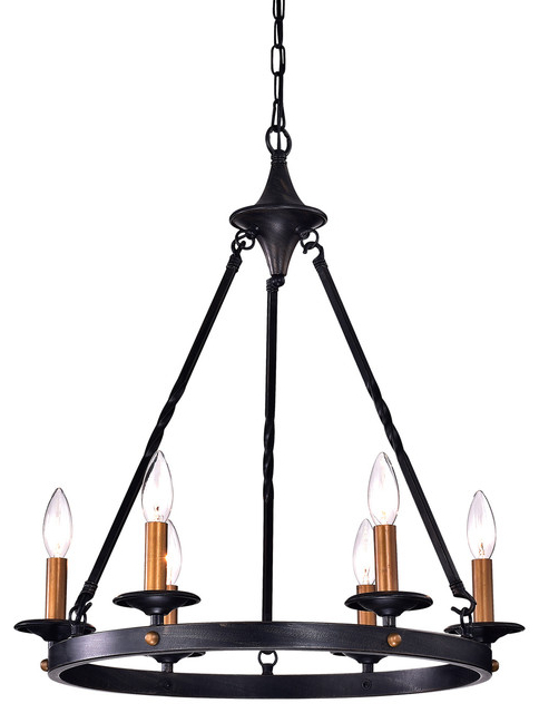 Best And Newest Lynn 6 Light Geometric Chandeliers Pertaining To 6 Light Antique Black Modern Farmhouse Round Chandelier (View 2 of 30)