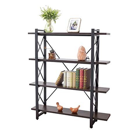 Best And Newest Rech 4 Tier Etagere Bookcases Inside Grace Tech 4 Tier Industrial Bookshelf Etagere Bookcase Wood And Metal Book  Shelves Furniture, Retro Rustic Home Office Storage Rack, 4 Shelf, Brown (View 2 of 20)