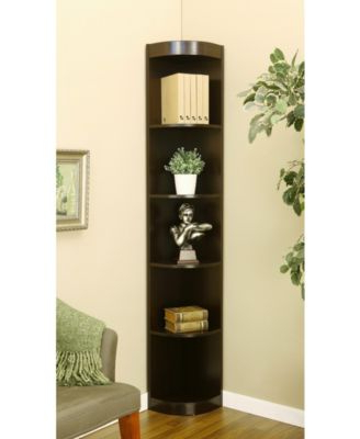 Best And Newest Rollins 5 Shelf Corner Bookcase – Brown (Gallery 9 of 20)