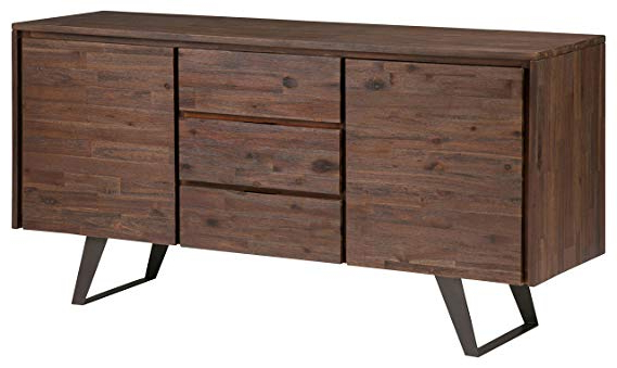 Best And Newest Simpli Home Axclry 10 Lowry Solid Acacia Wood And Metal 60 Inch Wide Modern  Industrial Sideboard Buffet In Distressed Charcoal Brown Intended For Lowrey Credenzas (Gallery 14 of 20)