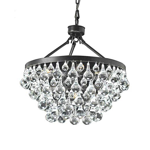 Best And Newest Verdell 5 Light Crystal Chandeliers Inside Antique Black 5 Light Crystal Drop Chandelier (View 5 of 30)
