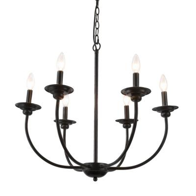 Black – Candle Style – Chandeliers – Lighting – The Home Depot Throughout Best And Newest Shaylee 6 Light Candle Style Chandeliers (View 21 of 30)