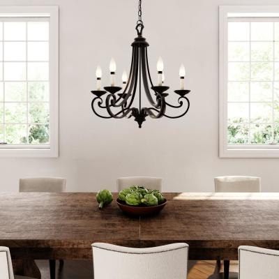 Black – Candle Style – Chandeliers – Lighting – The Home Depot Throughout Most Current Shaylee 6 Light Candle Style Chandeliers (View 30 of 30)
