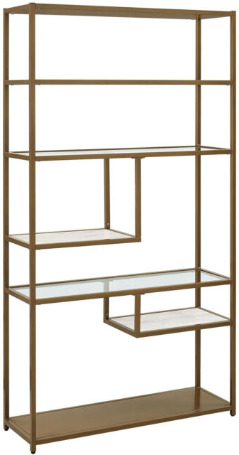 Bookcase Bookshelves Geometric Etagere Glass Metal Brass Marble Gold Color Inside Latest Mckibben Geometric Bookcases (Gallery 13 of 20)