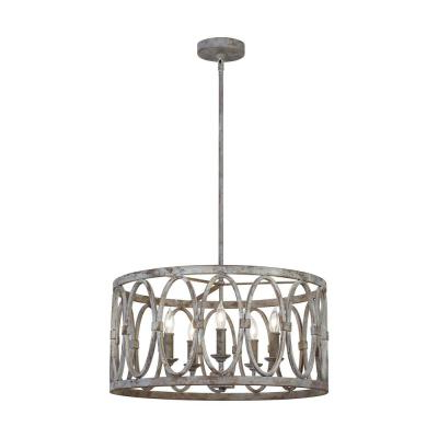 Brown – Chandeliers – Lighting – The Home Depot For Most Up To Date Buster 5 Light Drum Chandeliers (Gallery 22 of 30)