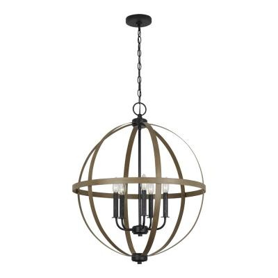 Buster 5 Light Drum Chandeliers With Newest Brown – Chandeliers – Lighting – The Home Depot (Gallery 12 of 30)