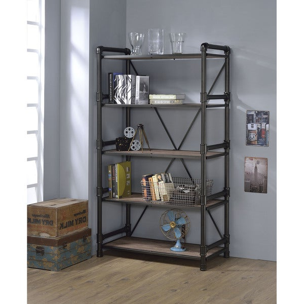 Caitlyn Etagere Bookcases In Most Up To Date Shop Caitlin Rustic Oak And Black Metal Bookshelf – Free (View 7 of 20)