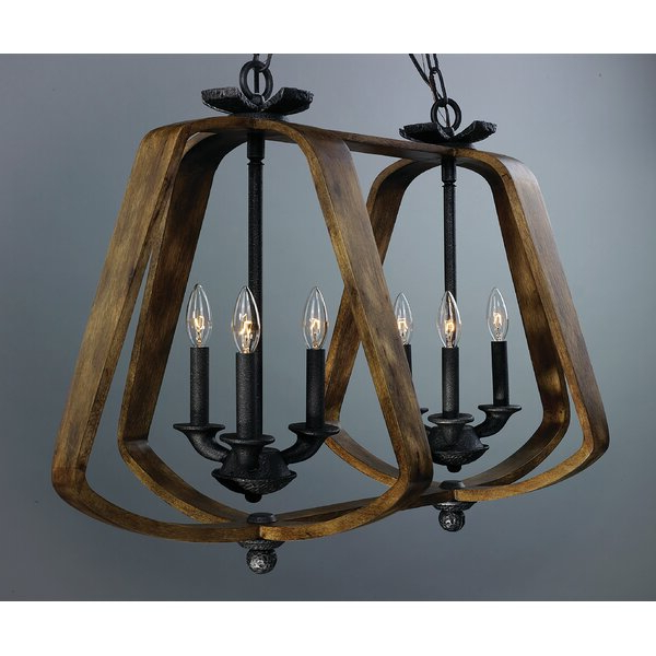 Calana 6 Light Geometric Chandelier Intended For Famous Millbrook 5 Light Shaded Chandeliers (Gallery 22 of 30)