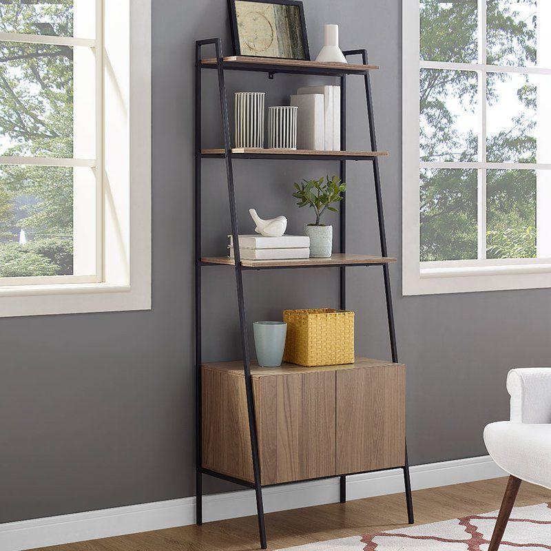 Caldwell Metal And Wood Ladder Bookcase In  (View 9 of 20)