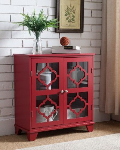Candace Door Credenzas For Trendy Red Wood Accent Entryway Console Buffet Display Table With (View 4 of 20)