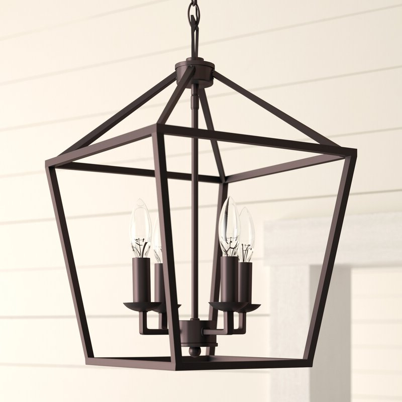 Carmen 4 Light Lantern Geometric Pendant Inside Preferred Louanne 1 Light Lantern Geometric Pendants (Gallery 20 of 30)