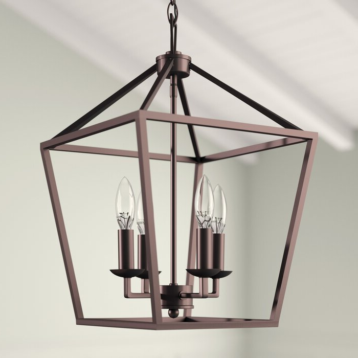 Carmen 4 Light Lantern Geometric Pendant Pertaining To 2019 Louanne 1 Light Lantern Geometric Pendants (View 3 of 30)