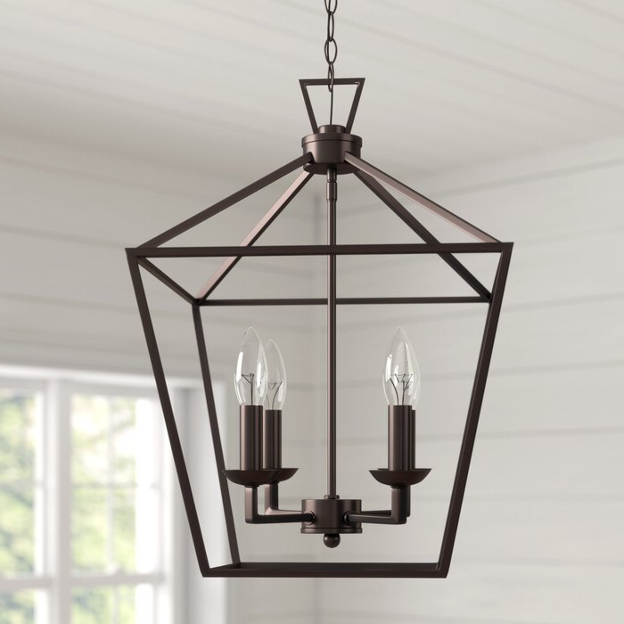 Carmen 4 Light Lantern Geometric Pendant Within Most Up To Date Louanne 3 Light Lantern Geometric Pendants (View 8 of 30)