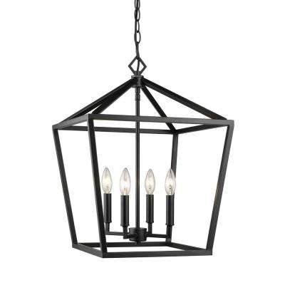 Carmen 4 Light Lantern Geometric Pendants Intended For Well Known 4 Light 16 In. Wide Matte Black Taper Candle Pendant (Gallery 23 of 30)