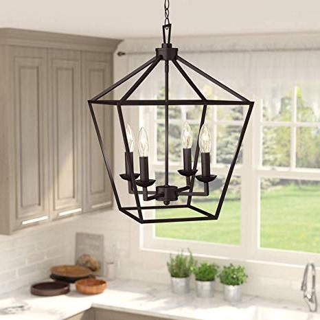 Carmen 6 Light Lantern Geometric Pendants With Regard To 2019 Amazon: 4 Light Lantern Pendant – Contemporary Ceiling (View 20 of 30)