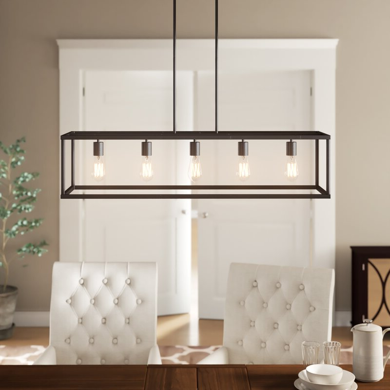 Cassie 5 Light Kitchen Island Linear Pendant Regarding 2020 Freemont 5 Light Kitchen Island Linear Chandeliers (Gallery 11 of 30)