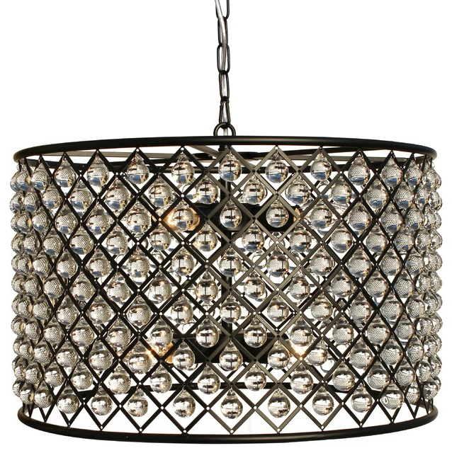 Cassiel Crystal Drum Chandelier, Black In Fashionable Jill 4 Light Drum Chandeliers (View 15 of 30)