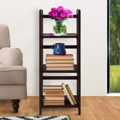 Casual Home 3 Shelf Folding Standard Bookcase Casual Home For Famous Belue Standard Bookcases (Gallery 13 of 20)