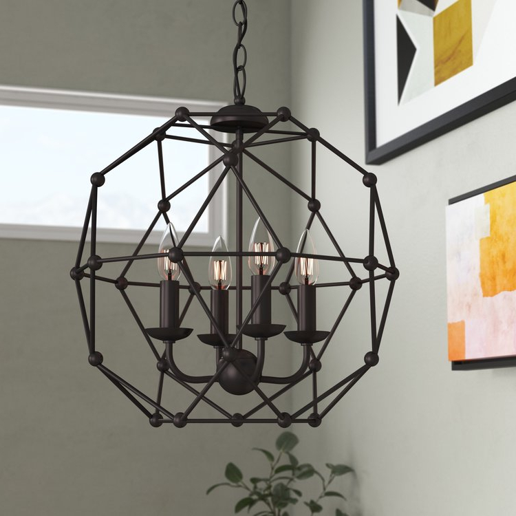 Cavanagh 4 Light Geometric Chandelier (Gallery 27 of 30)