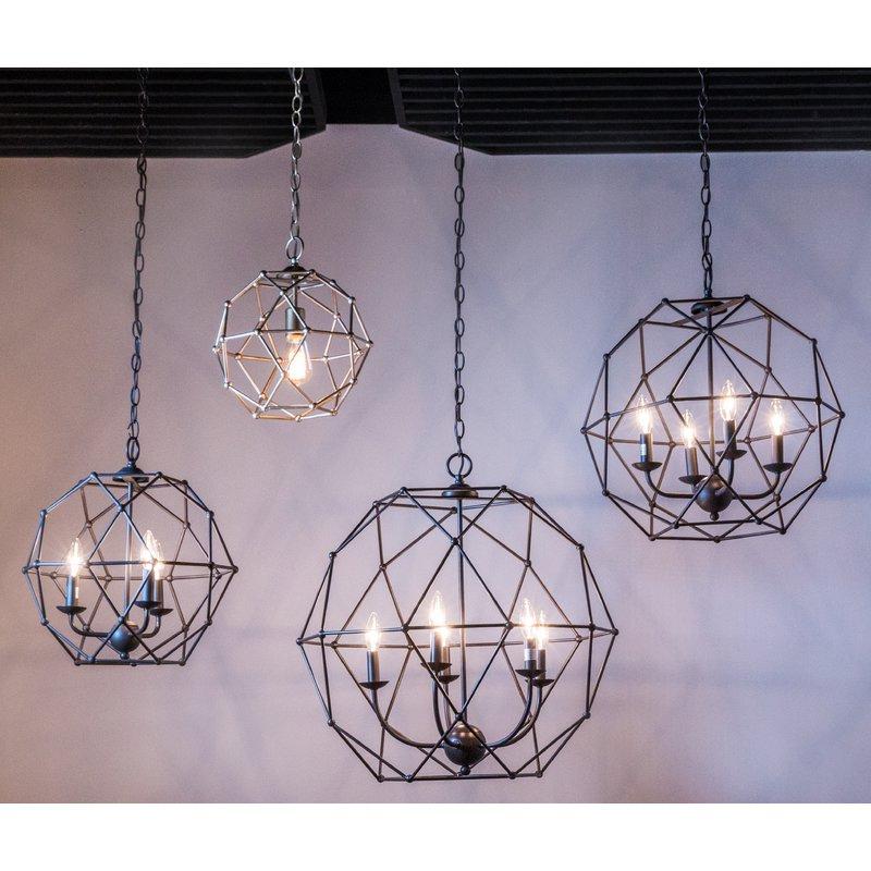 Cavanagh 4 Light Geometric Chandeliers In Fashionable Mercury Row Cavanagh 4 Light Geometric Chandelier (Gallery 11 of 30)