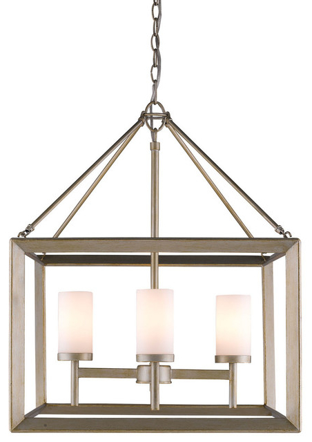 Cavanagh 4 Light Geometric Chandeliers Regarding Latest Smyth 4 Light Chandelier, White Gold And Opal Glass (View 21 of 30)