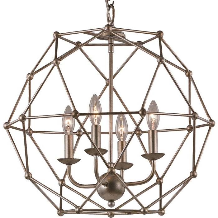 Cavanagh 4 Light Geometric Chandeliers With Regard To 2020 Cavanagh 4 Light Geometric Chandelier (Gallery 6 of 30)