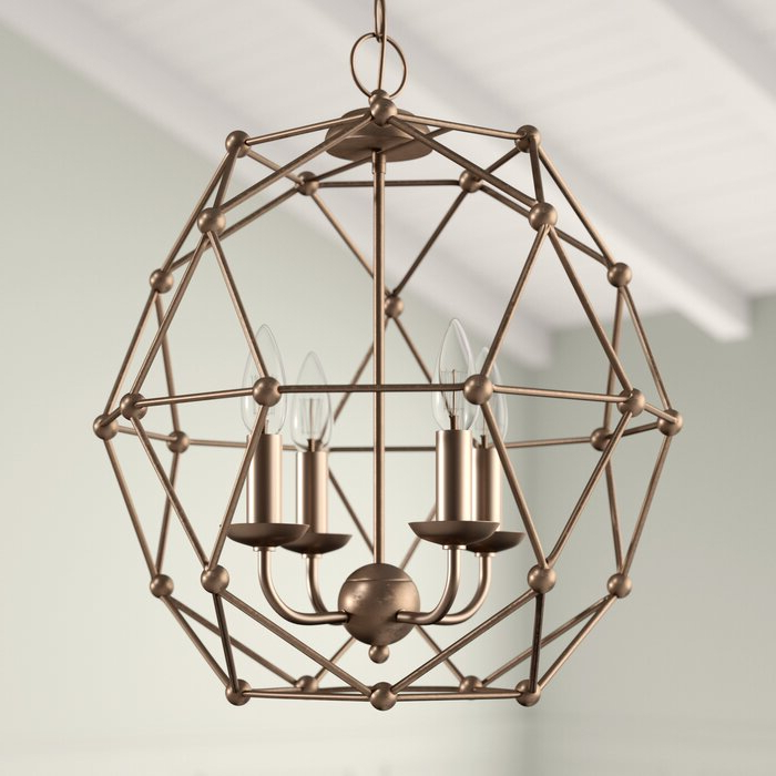 Cavanagh 4 Light Geometric Chandeliers With Regard To Latest Cavanagh 4 Light Geometric Chandelier (Gallery 8 of 30)