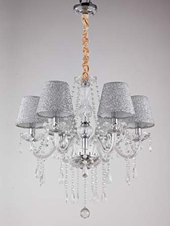 Chandelier Light Shades Ceiling Tenlion Chandeliers Ceiling Lights With 6 Crystal Lights Lamp For Living Room Dining Room Bedroom In Most Popular Thresa 5 Light Shaded Chandeliers (View 11 of 30)