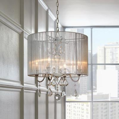 Chandeliers – The Home Depot Throughout Recent Dailey 4 Light Drum Chandeliers (Gallery 28 of 30)