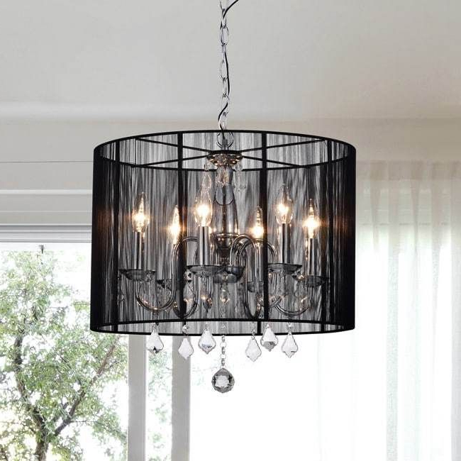 Chrome Black Shade Chandelier 6 Light Crystal (View 19 of 30)