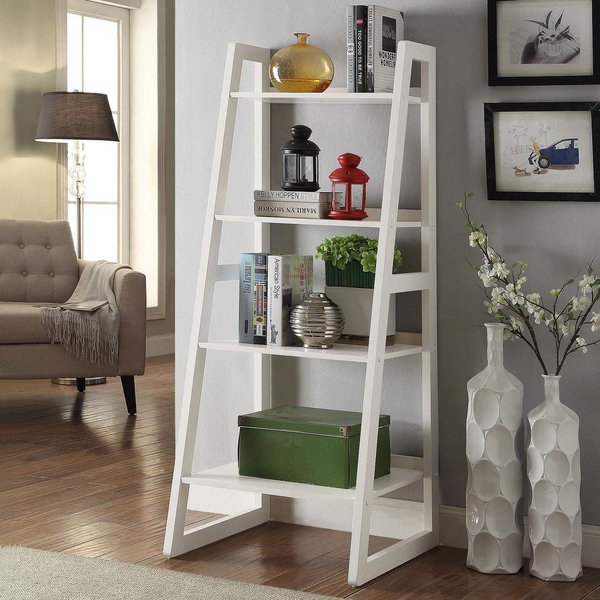 Clarence Ladder Bookcasered Barrel Studio Great Reviews Throughout 2019 Herrin 2 Tier Standard Bookcases (View 13 of 20)