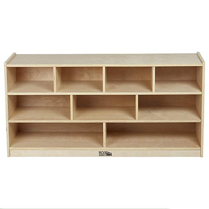 """Classroom Cubby Standard Bookcases Throughout Trendy Ecr4Kids Birch 9 Cubby School Classroom Block Storage Cabinet With Casters,  Natural, 48"""" W (Gallery 10 of 20)"""