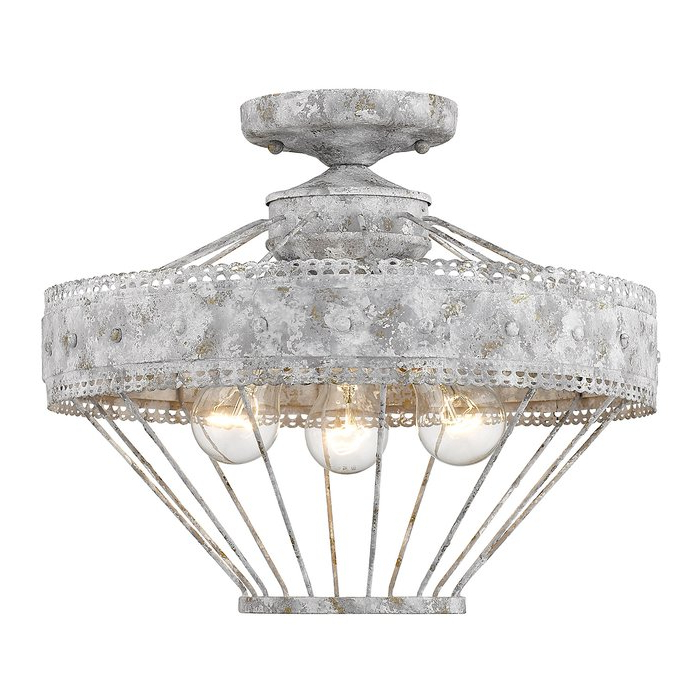 Clea 3 Light Crystal Chandeliers Inside Widely Used Cleo 3 Light Semi Flush Mount (View 10 of 30)