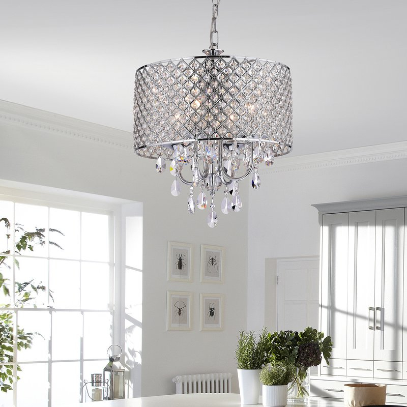 Clea 3 Light Crystal Chandeliers Regarding Preferred Von 4 Light Crystal Chandelier (View 17 of 30)