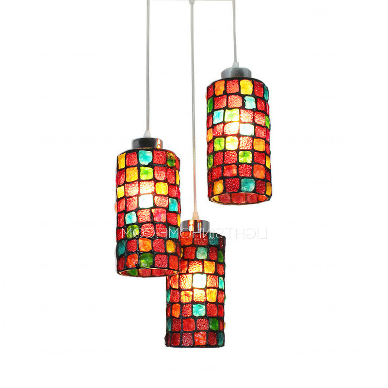 Colorful Stained Glass 3 Light Indie Style Multi Light Pendant Regarding Favorite 3 Light Lantern Cylinder Pendants (View 11 of 30)