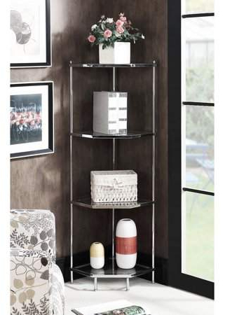 Convenience Concepts Royal Crest 4 Tier Corner Shelf For Most Recent Beckett Corner Bookcases (View 14 of 20)