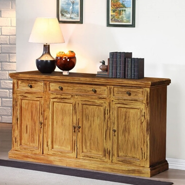 Courtdale Rustic Solid Wood 4 Door 3 Drawer Large Sideboard Cabinet With Widely Used Courtdale Sideboards (View 6 of 20)