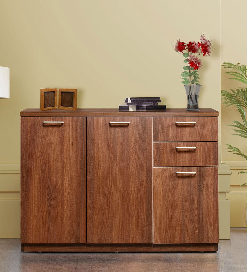 Credenza Cabinet & Sideboard With 3 Drawers In Walnut Finishaddy Design With Regard To Preferred Abhinav Credenzas (Gallery 20 of 20)