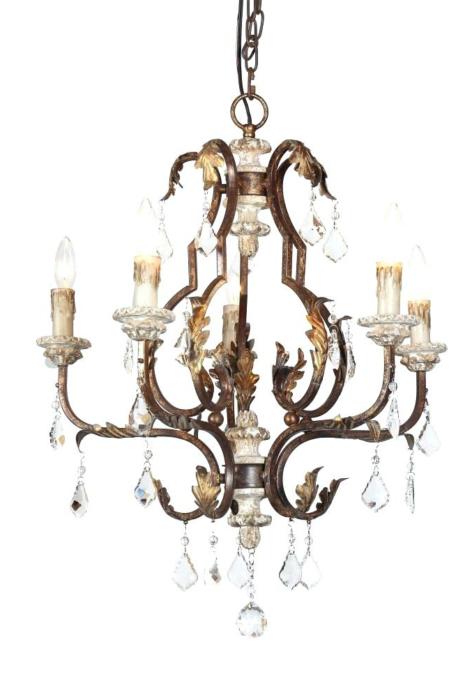 Crystal And Iron Five Light Chandelier – Marianapruitt (View 9 of 30)