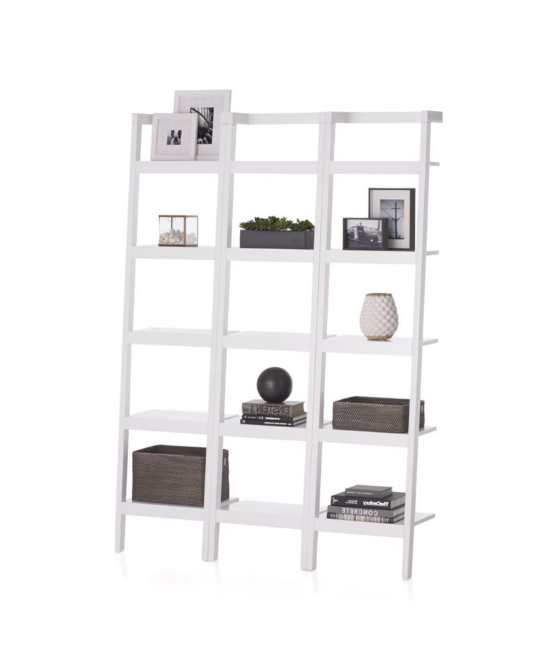 "Current Antoninus Ladder Bookcases Intended For Sawyer White Leaning 18"" Bookcases Set Of Three (View 12 of 20)"